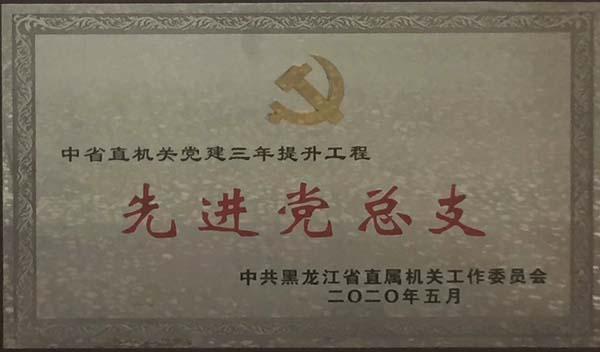 """2020.5月我院获得中省直机关党建三年提升工程""""先进党总支""""殊荣"""